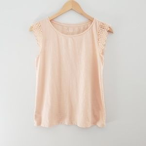 2 for $20 LOFT pink tshirt lace cap sleeves small